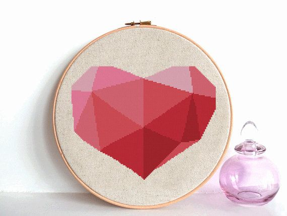 Heart Cross Stitch Pattern Geometric Cross by AnimalsCrossStitch
