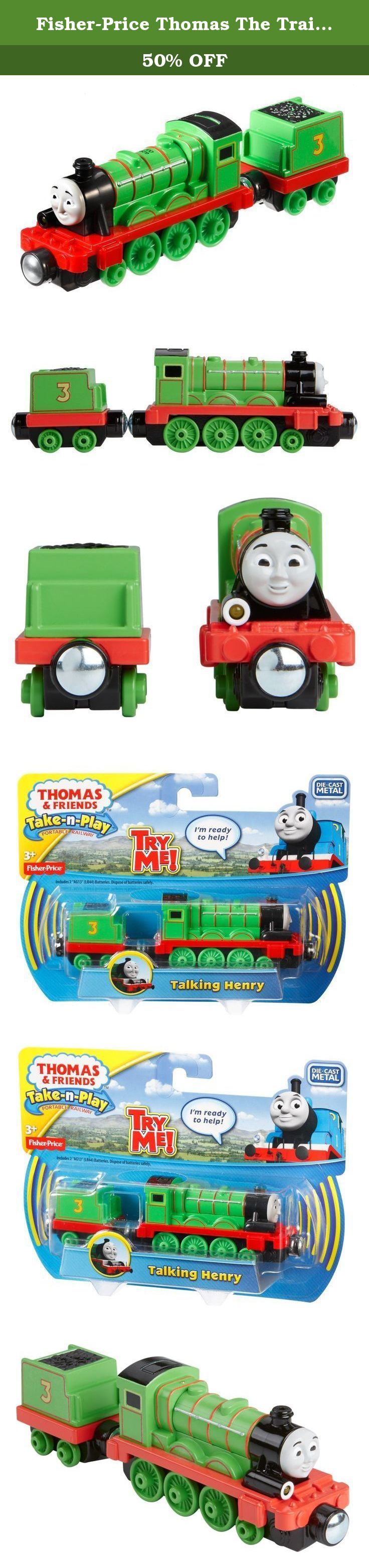 "Fisher-Price Thomas The Train Take-N-Play Talking Henry. Henry comes to life as a die-cast metal train engine with phrases, whistles and fun engine sounds! Henry features a working light. Press the button to hear Henry's signature phrases in his very own voice! Perfect for Take-n-Play Portable Fold-Out Playsets (sold separately and subject to availability). Requires 2 ""AG13"" (LR44) batteries. Ages 3+."
