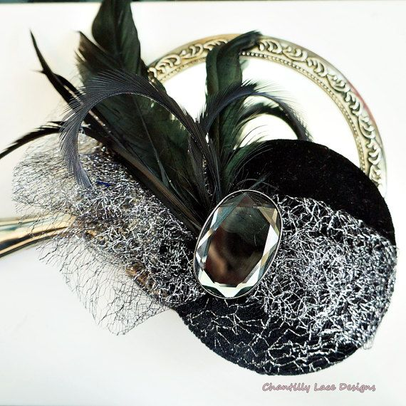 Black Velvet  and Silver Feather Opera  by ChantillyLaceDesigns
