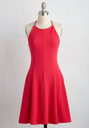 Vivid the Dream Dress - Solid, Casual, Sundress, Sleeveless, Summer, Good, Mid-length, Knit, Coral, Daytime Party, A-line