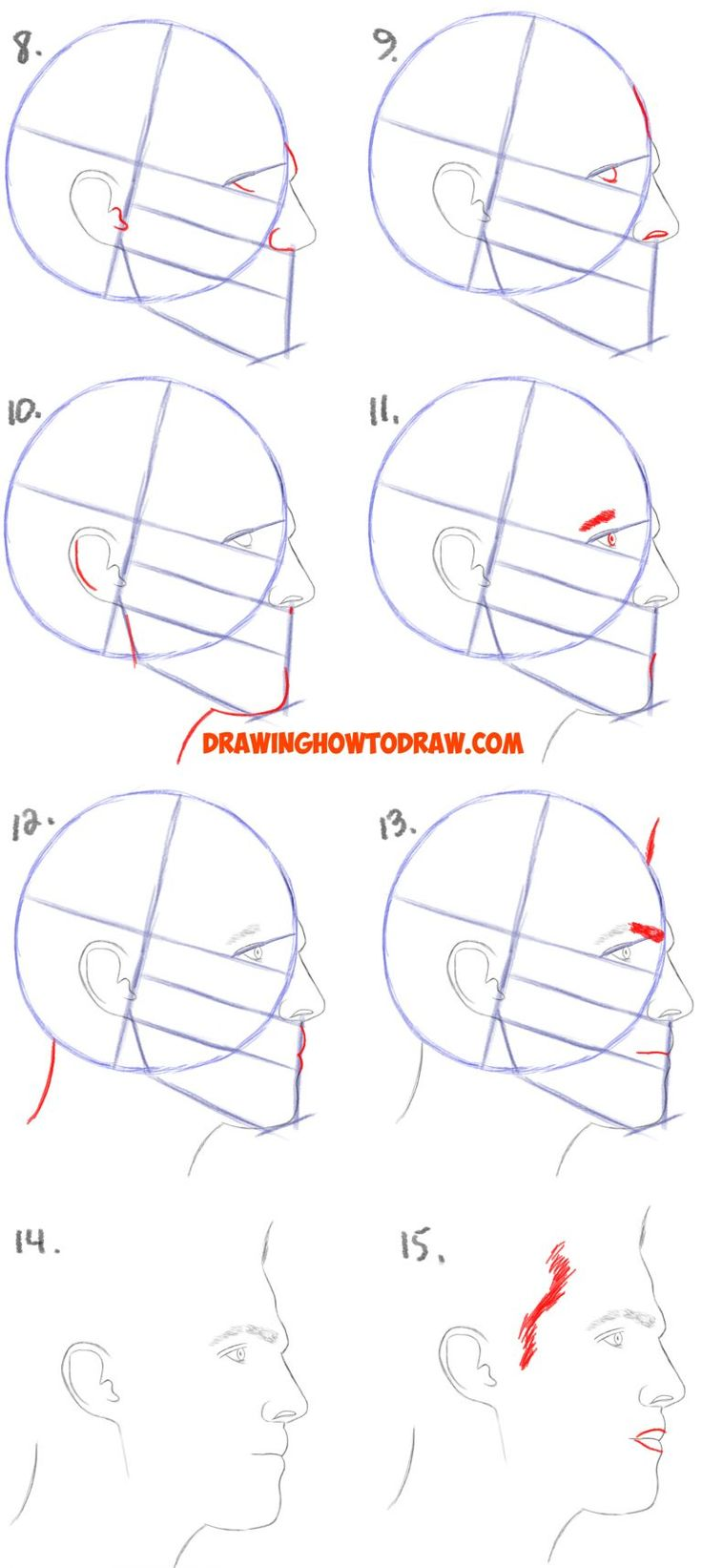 How to Draw a Face from the Side Profile View (Male / Man ...