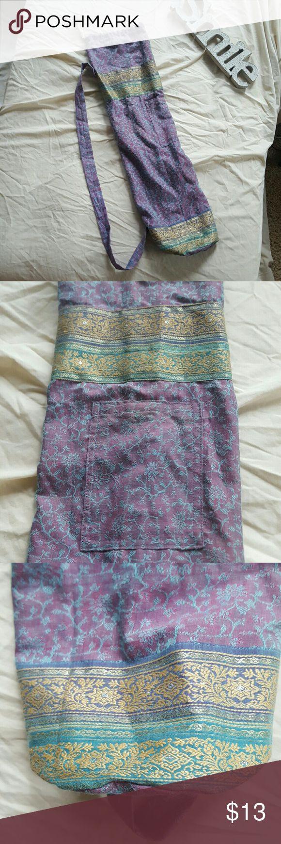 Yoga Mat Bag made of Recycled Saris Beautiful purple and blue cotton yoga bag made of recycled saris. Has small exterior pocket, drawstring at top. Unique and cute! :-) Bags