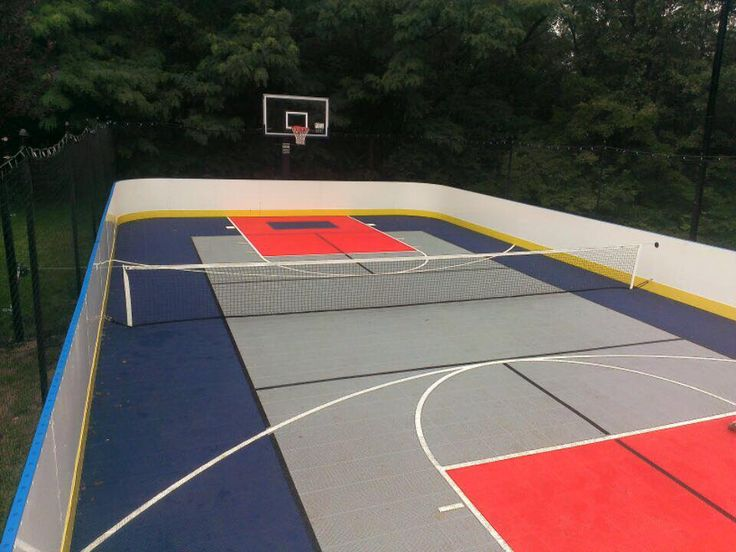 Hockey Boards Sports court flooring, Home basketball