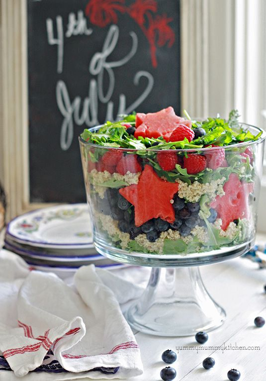 Healthy #Patriotic Salad #July4thBlue Recipe, Fourth Of July, Healthy Salad, Red White Blue, Summer Salad, 4Th Of July, Quinoa, Patriots Salad, Berries