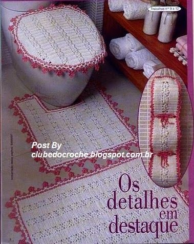 Crochet bathroom set ❤️LCB-MRS❤️ with diagrams. --- Clube do Crochê: Jogo de Banheiro Branco e Pink (com gráficos)