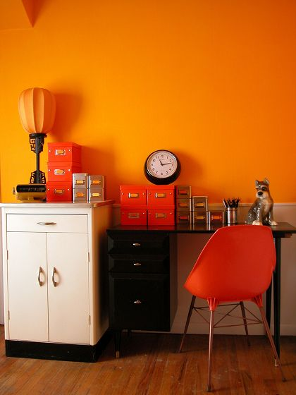 #orange organised home office - love the colour on the walls