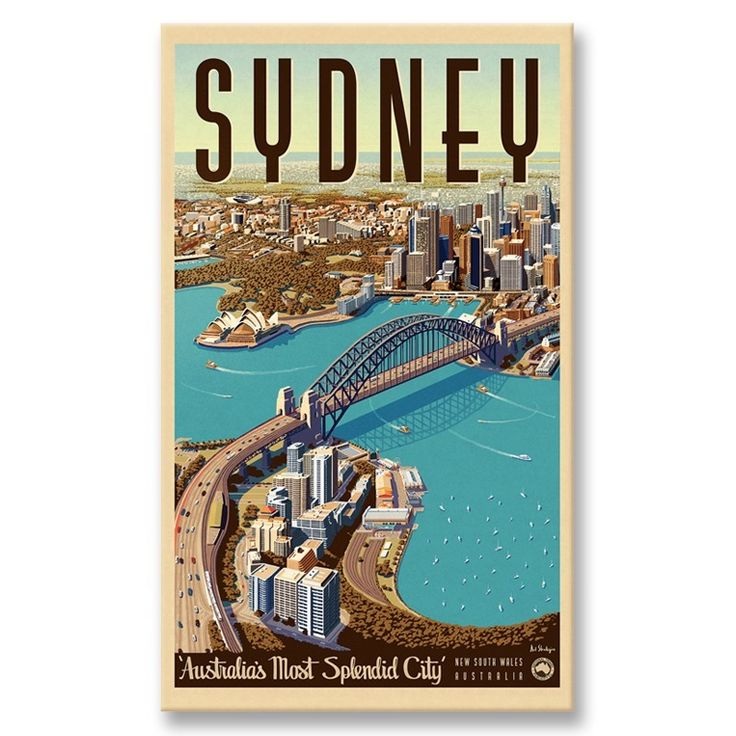 Sydney Retro Poster | Stretched Canvas | from Printism. Australian art canvas designed by the skilled artists at Vintage Portfolio,depicts Sydney Harbour in all its majesty. The Harbour Bridge dominates the scene,linking the North Shore in the foreground with the towers of the CBD & beyond. Includes Luna Park,the Opera House, Centrepoint Tower & a host of other recognisable landmarks.