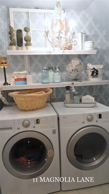 This looks manageable and pretty inexpensive. I could do this for sure. Now if I can just get my husband to agree:): Decor, Small Laundry Rooms, Chandelier, Wallpaper, Room Ideas, Laundry Room Makeovers, Design, Laundryroom