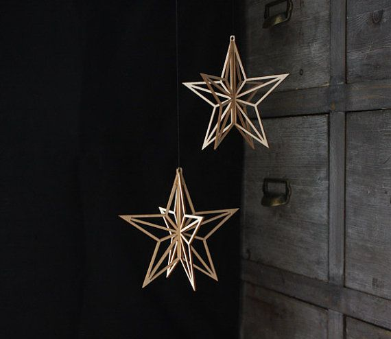 Valona design Stars belong to Birch Crystal -series. They are laser cut out of Finnish birch plywood. Designed and made by Elina Mäntylä, Valona design. www.valona.fi  Wooden Stars  Birch Crystal 2 pack by ValonaDesign on Etsy