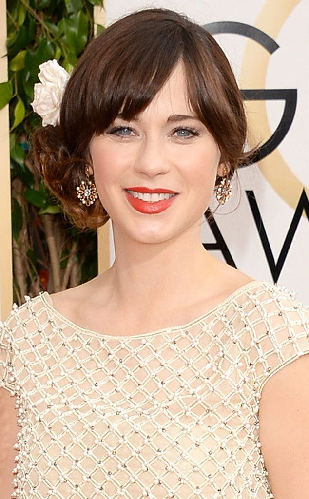 Zooey Deschanel from Best Beauty Looks at the 2014 Golden Globes   E! Online
