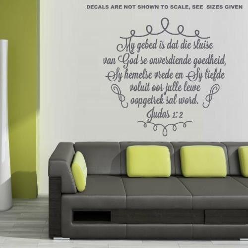 Bybel vers judas 1:2 (afrikaans) inspirational bible verse wall art sticker  med vinyl decal