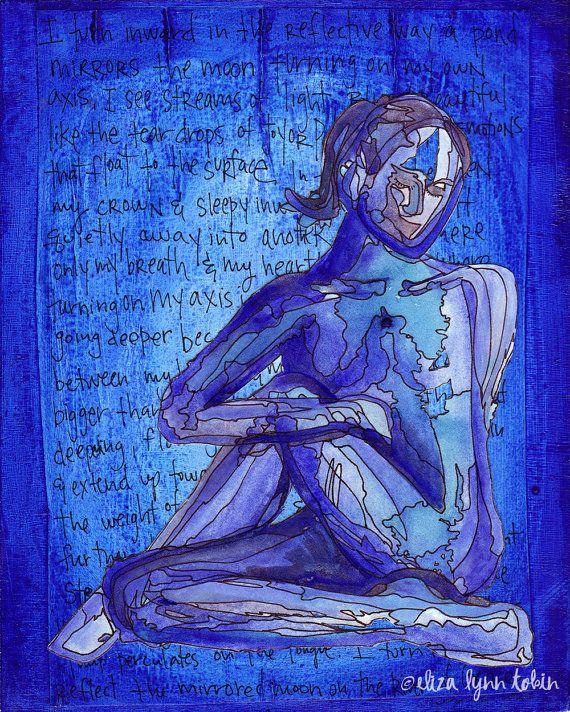 Yoga Art Print - Turning Inward - yoga wall art, sacred space art, yoga artwork, yoga gift