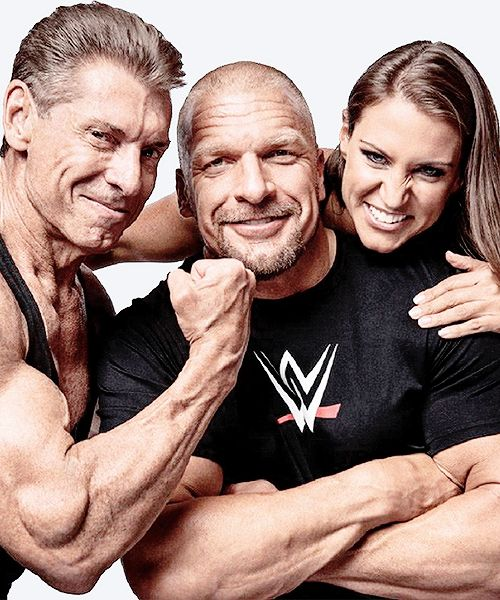 """Vince McMahon, Triple H and Stephanie McMahon in the March 2015 issue of 'Muscle and Fitness' magazine. Available now!"""