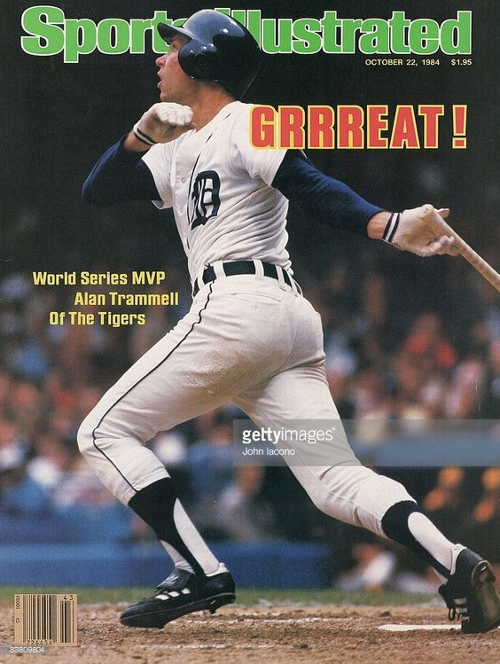 October 22, 1984 Sports Illustrated Cover: Baseball: World Series: Detroit Tigers Alan Trammell (3) in action, hitting home run vs San Diego Padres. Game 4. Detroit, MI
