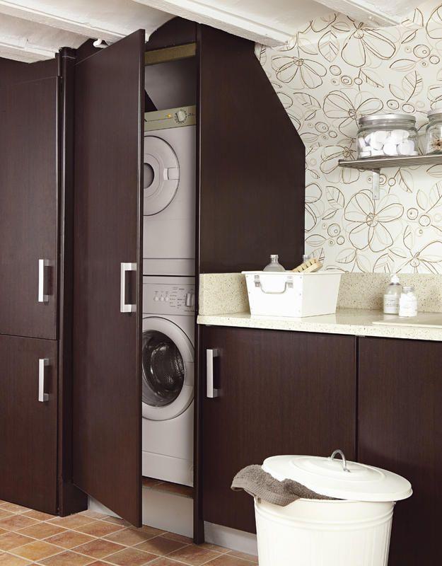 Las 25 mejores ideas sobre decoraci n de cuarto de lavado - Mueble lavadora secadora ...