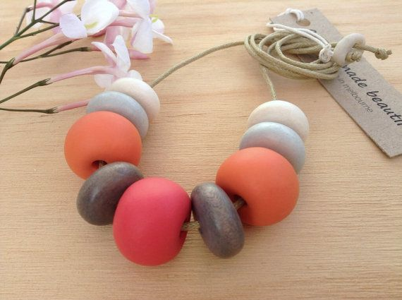Handmade clay bead necklace by ASpaceMadeBeautiful on Etsy, $38.00
