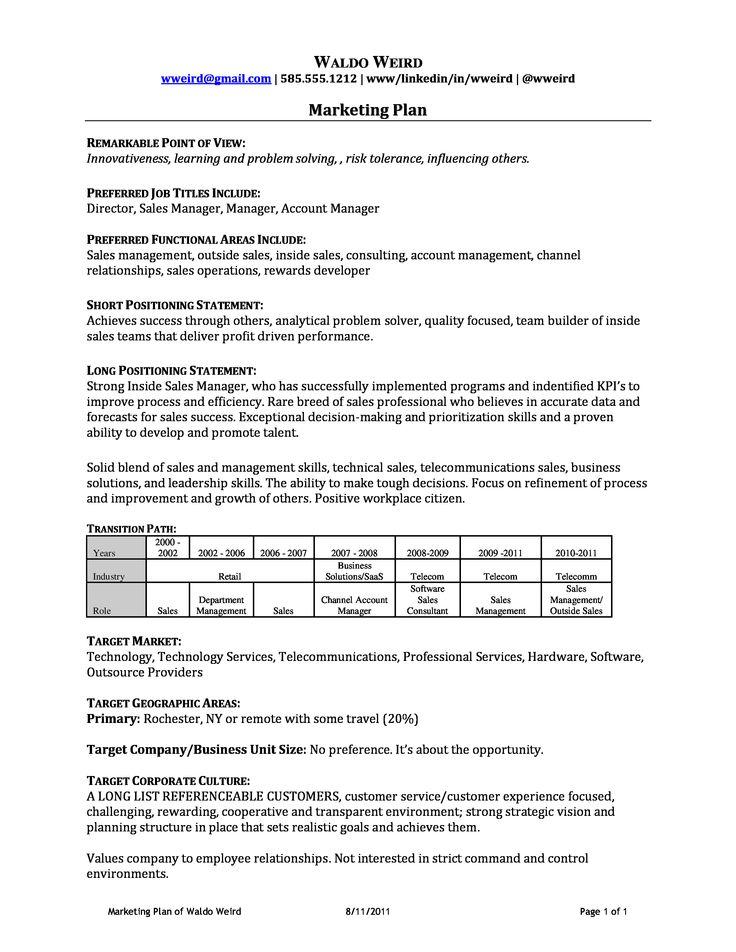 personal marketing plan example pdf