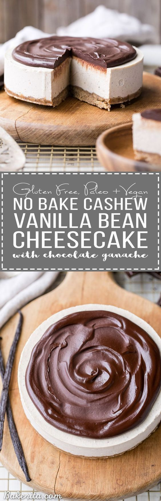 This No-Bake Vanilla Bean Cheesecake with Chocolate Ganache is a gluten-free, Paleo and vegan cheesecake made with a walnut crust, a creamy cashew cheesecake filling, topped with a luscious chocolate ganache. This healthier cheesecake alternative will sat