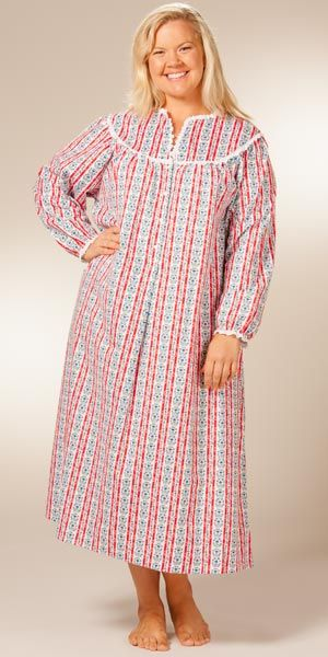 plus size lanz nightgowns classic vneck flannel gown in red tyrolean - Flannel Nightgowns