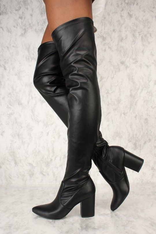 e1f2d40c39b Sexy Black Pointy Toe Thigh High Chunky Heel Boots Faux Leather | my ...