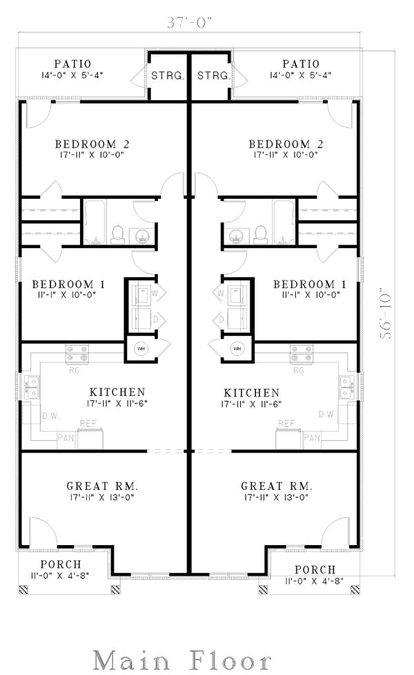 The 25 best duplex plans ideas on pinterest duplex Duplex floor plans with double garage