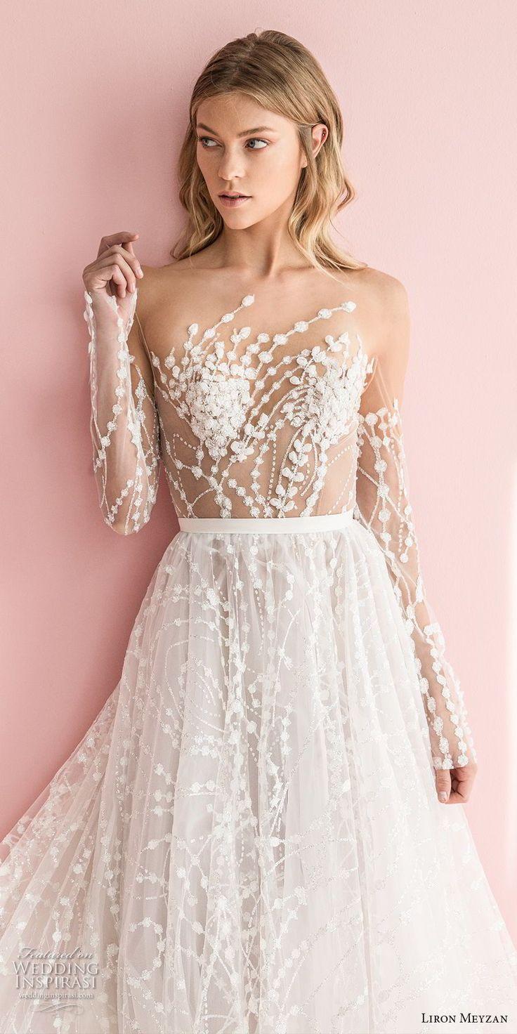 liron meyzan 2018 bridal long sleeves sweetheart heart neckline full embellishment romantic modern a line wedding dress open v back chapel train (1) zv mv -- Liron Meyzan 2018 Wedding Dresses