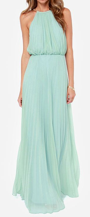 Mint pleated maxi dress