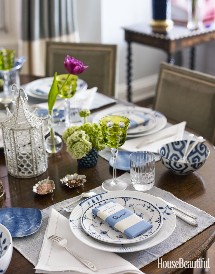 Look online (and in thrift shops) for beautiful sets of antique china and silver flatware sold for less than a contemporary place setting. They often feel more special to guests than a brand-new one.   - HouseBeautiful.com