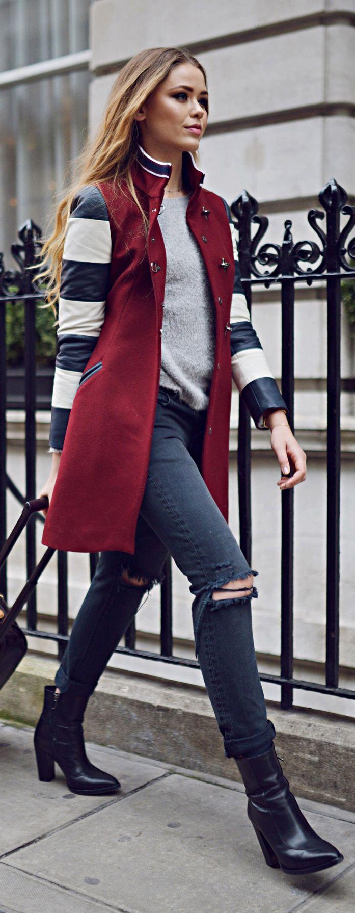 Multi Black And White Contrast Stripe Sleeve Coat.