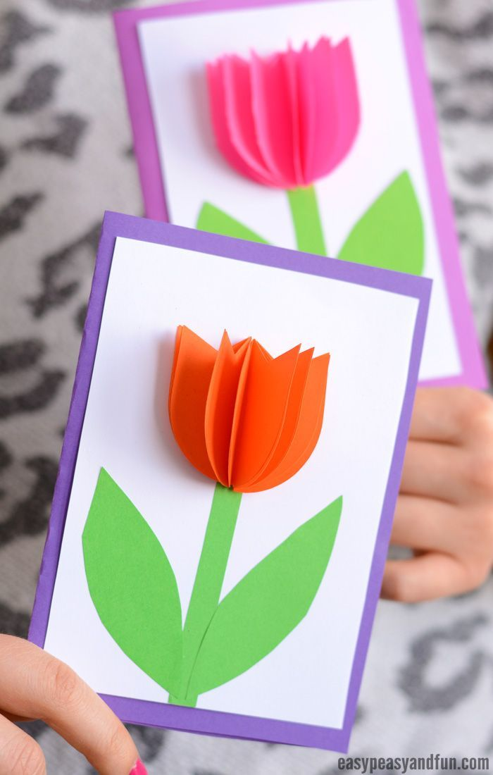 3d Paper Tulip Card Simple Mother S Day Card Idea Mothers Day Cards Craft Mothers Day Crafts For Kids Tulips Card