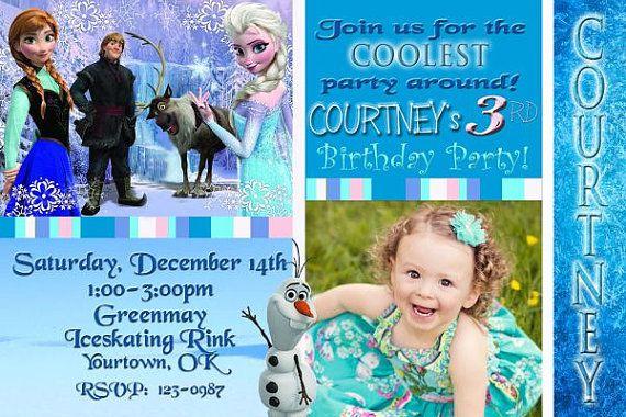 Frozen Birthday Invitation Digital You Print 4x6 by DazzelPrintz, $10.95