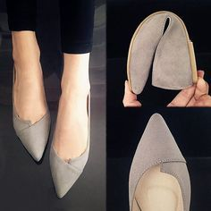 Women's Pointed Toe Ballet Flats Slip On Suede Shoes Stiletto Fashion Loafer