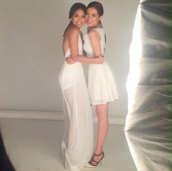 This is Kathryn Bernardo and her BFF, Julia Montes smiling for the camera during a photo shoot for Air Optix Contact Lenses, which is another of their endorsements for 2016. Indeed, Kathryn Bernardo and Julia Montes are very pretty; they're BFFs, fellow ABS-CBN talents, fellow Star Magic talents, and fellow Goin' Bulilit alumnae. :-) #JulKath #AirOptixContactLenses #KathrynBernardo #JuliaMontes #BFFs