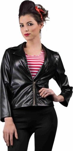 Women's 50s Greaser Faux Leather Jacket, Size: Large, Black