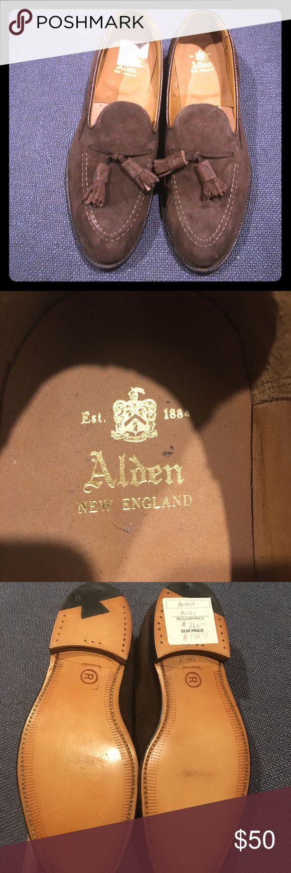 Alden of New England Brown Suede Tassel Loafers Alden New England Brown Suede Tassel Loafers- very classy and made by famous shoe manufacturer that is last of its kind in New England region. These Loafers normally go for $500+ - as shown on bottom of shoe, these shoes were on sale and ultimately purchased for $139.95. Some imperfections - small spot on top left of shoe, label peel as shown in right shoe, some writing and price tag on right bottom sole. Shoes still in excellent condition and…