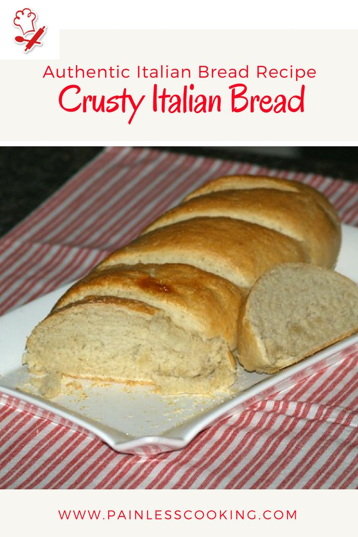 Learn how to make authentic Italian bread recipes. This recipe for Crusty Italian Bread is a family favorite. Combine ingredients and knead into a dough ball; place in a bowl to rise. Turn dough out and punch down and cove. Shape dough into a loaf and let rise. Bake for 25 to 30 minutes.