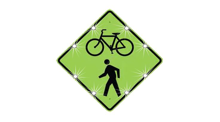"Bicycle/Pedestrian Crossing Sign.  Eight - 1 1/4"" LED Lights.  24/7 Flash, Push Button activation available."
