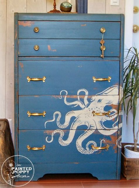 22 Dresser Makeovers Coastal, Nautical and Beach Style: http://www.completely-coastal.com/2016/01/dresseer-makeover-coastal-beach-nautical.html Painted octopus, boats, whales, ships and more. Ocean blue dressers, mag decoupage and other ideas!