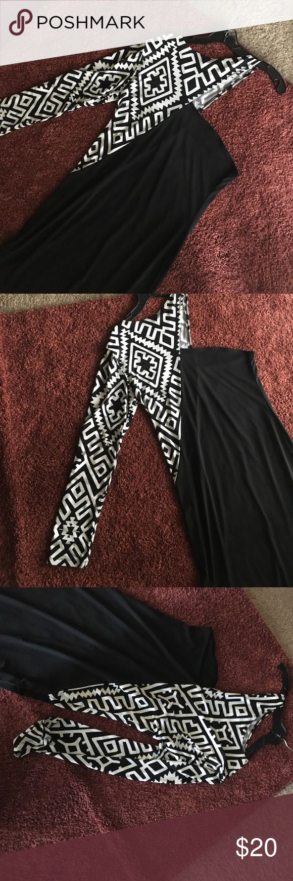 Black and white one sleeve bodycon dress! Chic and modern party dress! Classy but fashionable. Dress can fit 14-16. Worn once for a birthday Dresses Mini