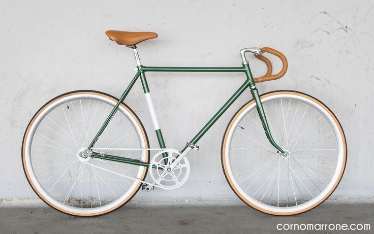 single speed bicycle bike corno marrone cornomarrone custom vintage steel classic road bike fixie urban racing green leather works