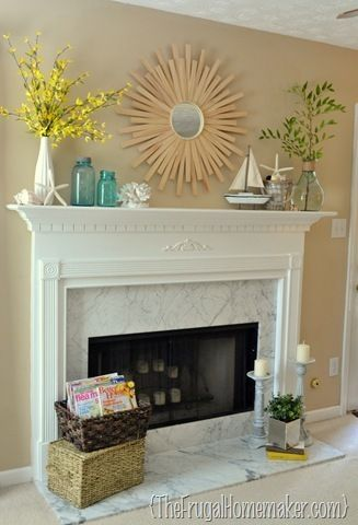 Beach-inspired summer mantel - The Frugal Homemaker