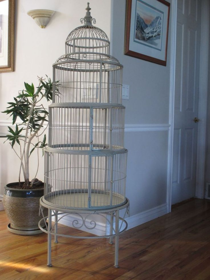 Spectacular Vtg Bird Cage Antique White Iron Victorian Cathedral Dome Top 5.5' in Pet Supplies, Bird Supplies, Cages | eBay
