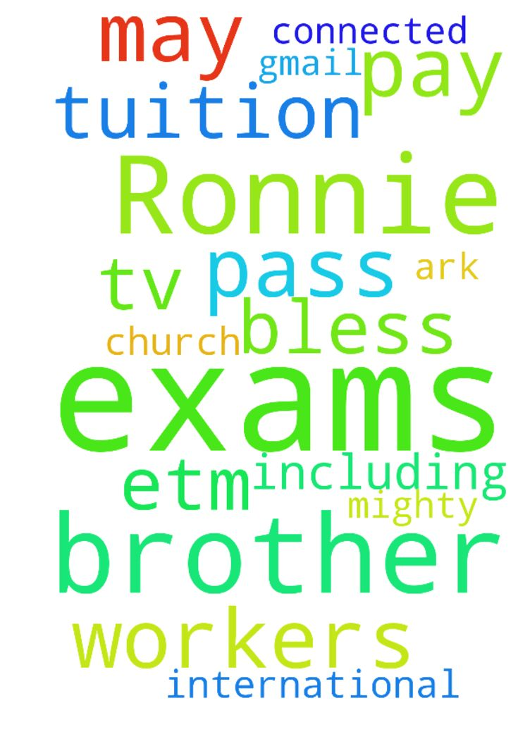 Help me pray brother Ronnie so that i do my exams and - Help me pray brother Ronnie so that i do my exams and pay my tuition and pass my exams and may God bless you and all those connected to Etm international church and all the workers including those of ark tv and 91.6 gmail in the mighty name of Jesus Christ Amen. Posted at: https://prayerrequest.com/t/uRw #pray #prayer #request #prayerrequest