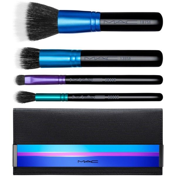 MAC Mineralize Brush Kit, Enchanted Eve Collection found on Polyvore featuring beauty products, makeup, makeup tools, makeup brushes, no color, eyeshadow brush, black makeup brushes, eye shadow brush, blender brush and taper kit