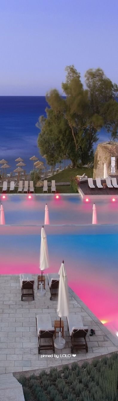 Eleon Grand Resort pool at night...Greece | LOLO