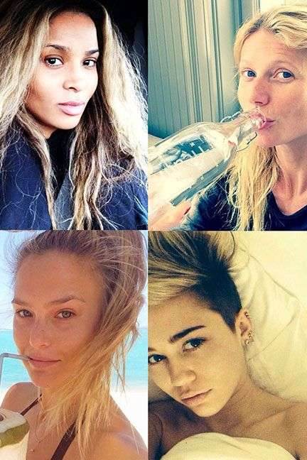 """""""Our Favorite Celebrity 'No Makeup' Selfies Photo Gallery""""..Wow!! Double Click!!..Kim K. is clearly wearing makeup!..Why was she included??..Who are you fooling??..LOL.. #TeamNatural #NoFilter"""