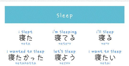 """Different verb forms of """"sleep"""" in Japanese"""