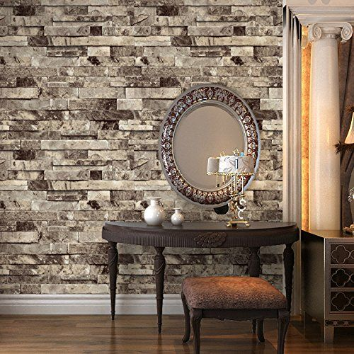 "HaokHome 91301 Modern Faux Brick Stone Textured Wallpaper Roll Grey Multi 3D Brick Blocks Home Room Decoration 20.8"" x 393.7"". $39.99"