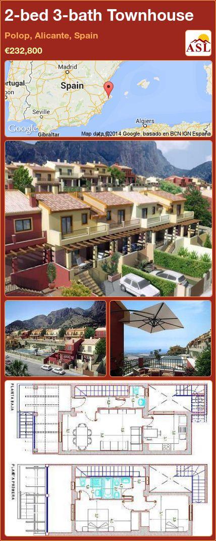 2-bed 3-bath Townhouse in Polop, Alicante, Spain ►€232,800 #PropertyForSaleInSpain
