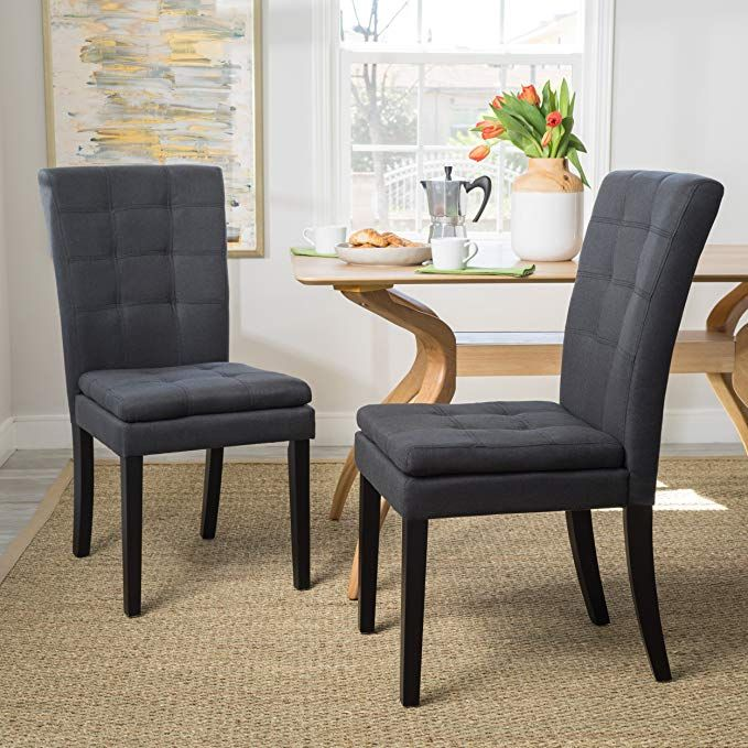 Christopher Knight Home 300403 Badin Fabric Dining Chair Set Of 2 Dark Charcoal Review Fabric Dining Chairs Dining Chairs Living Room Chairs